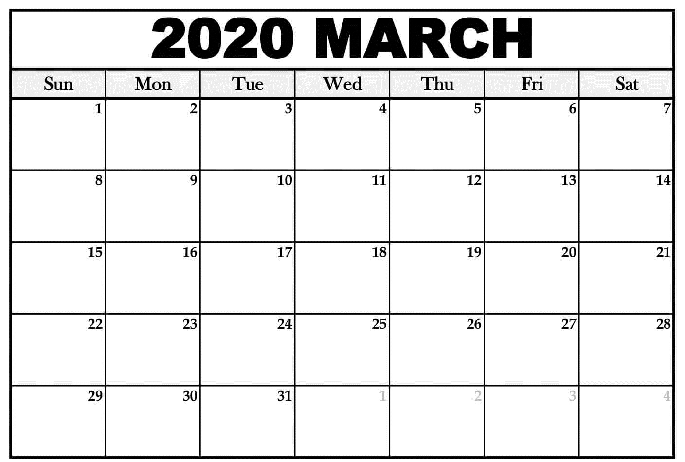 Free Printable Calendar March 2020 Layout
