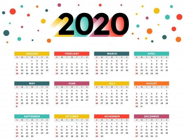 Holidays 2020 Calendar