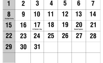 Holidays March 2020 Calendar