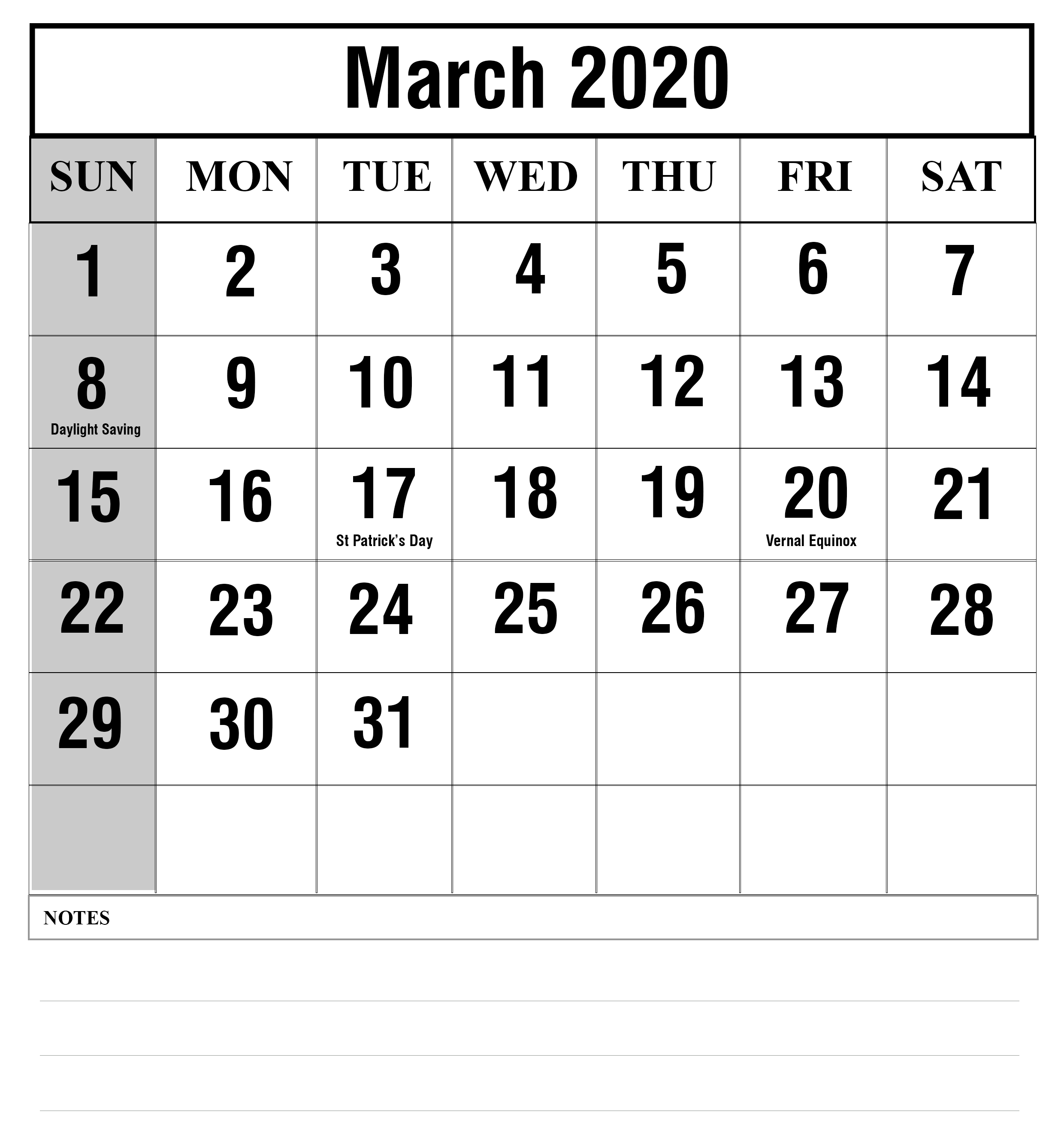 Holidays March 2020 Calendar