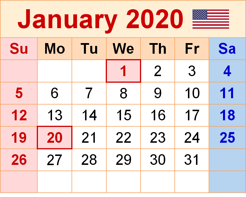 January 2020 Calendar Excel Sheet