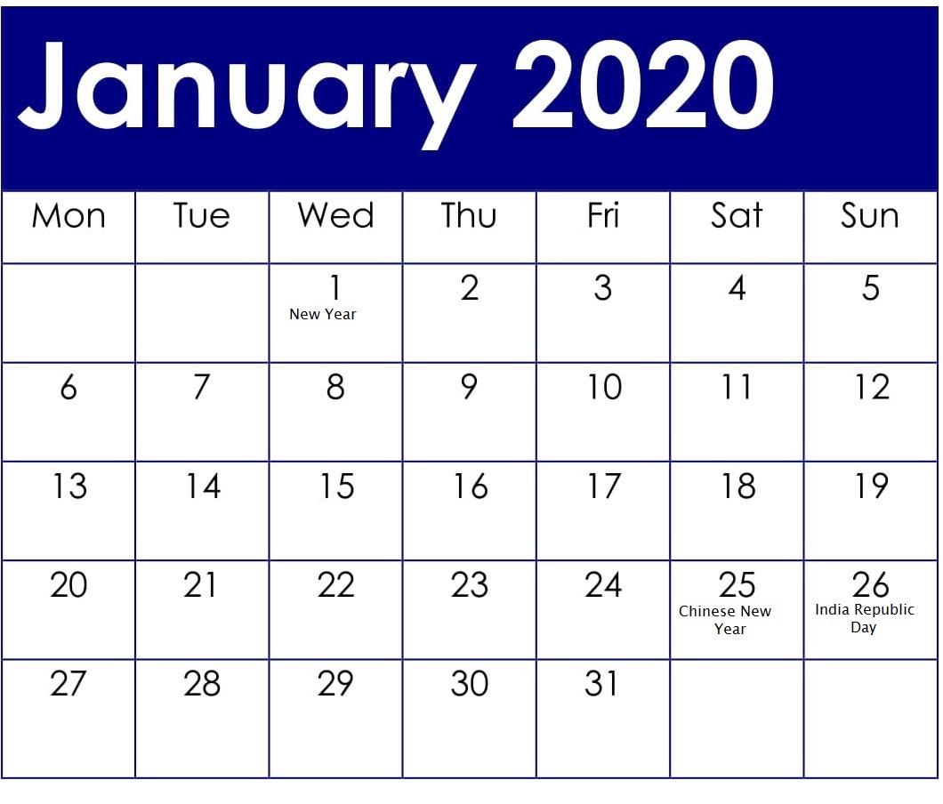 January 2020 Calendar With Holidays For School