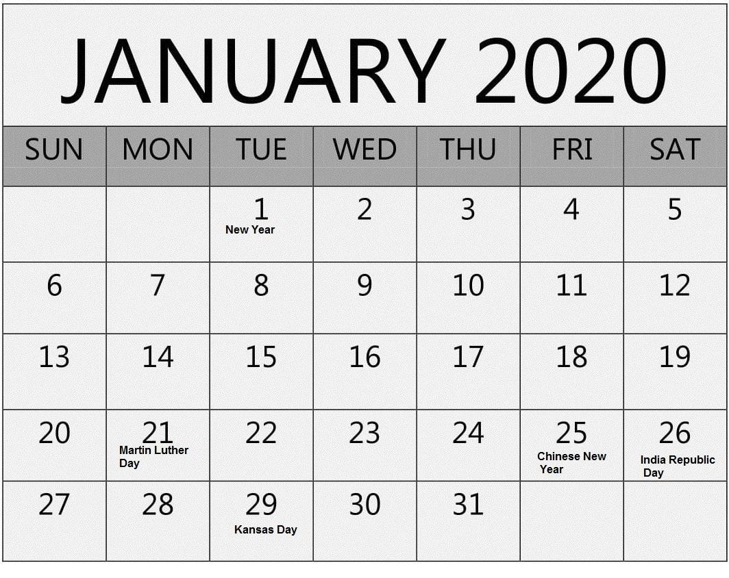 January 2020 Calendar With Holidays PDF