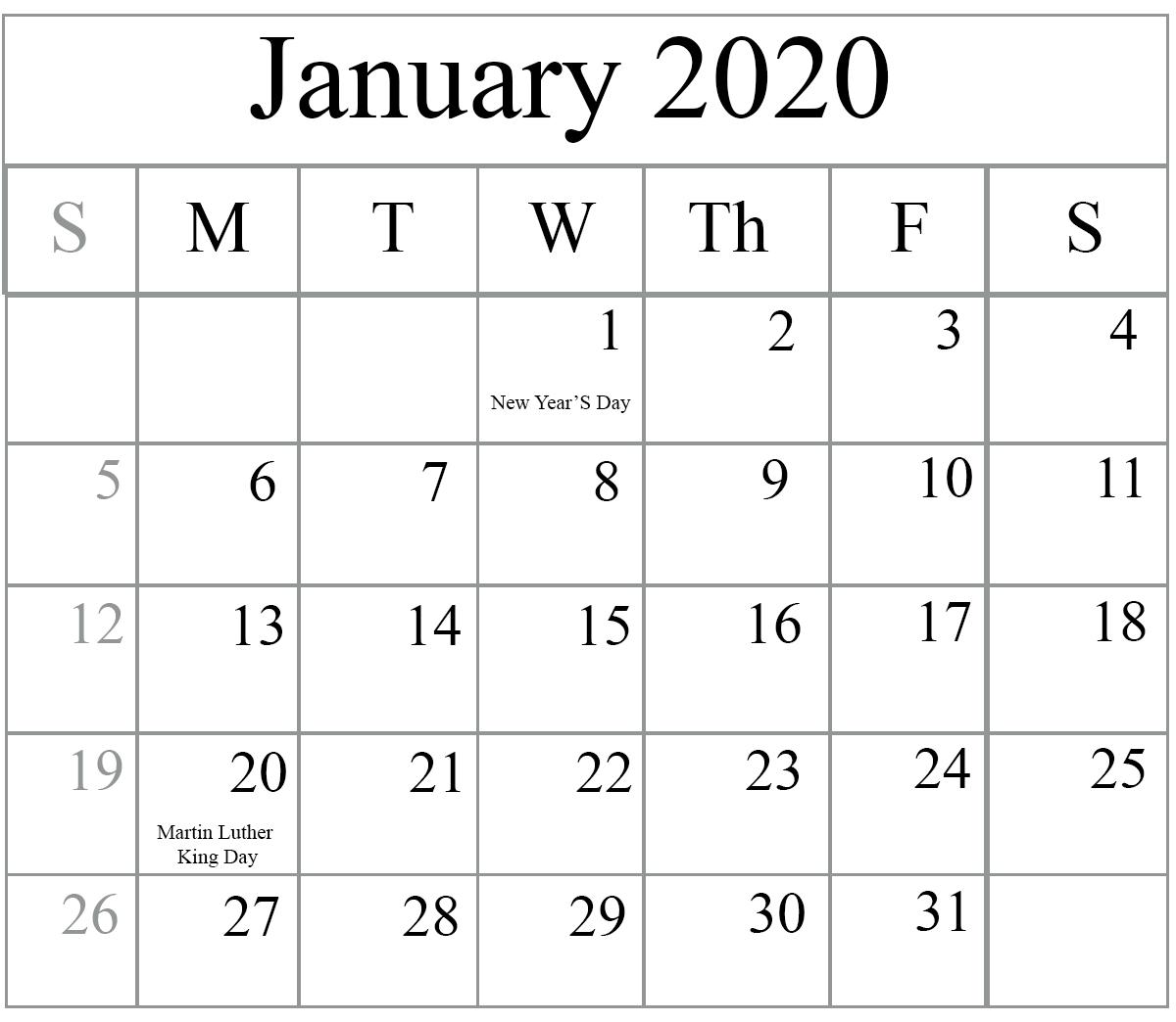 January 2020 Calendar With Holidays Wallpaper