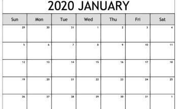 January 2020 Planner Calendar Excel
