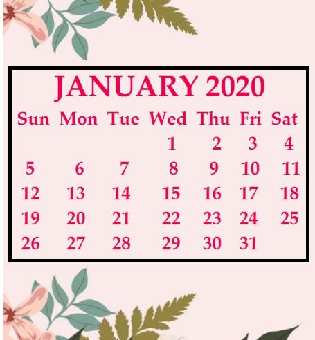 January 2020 Wallpaper Calendar Excel