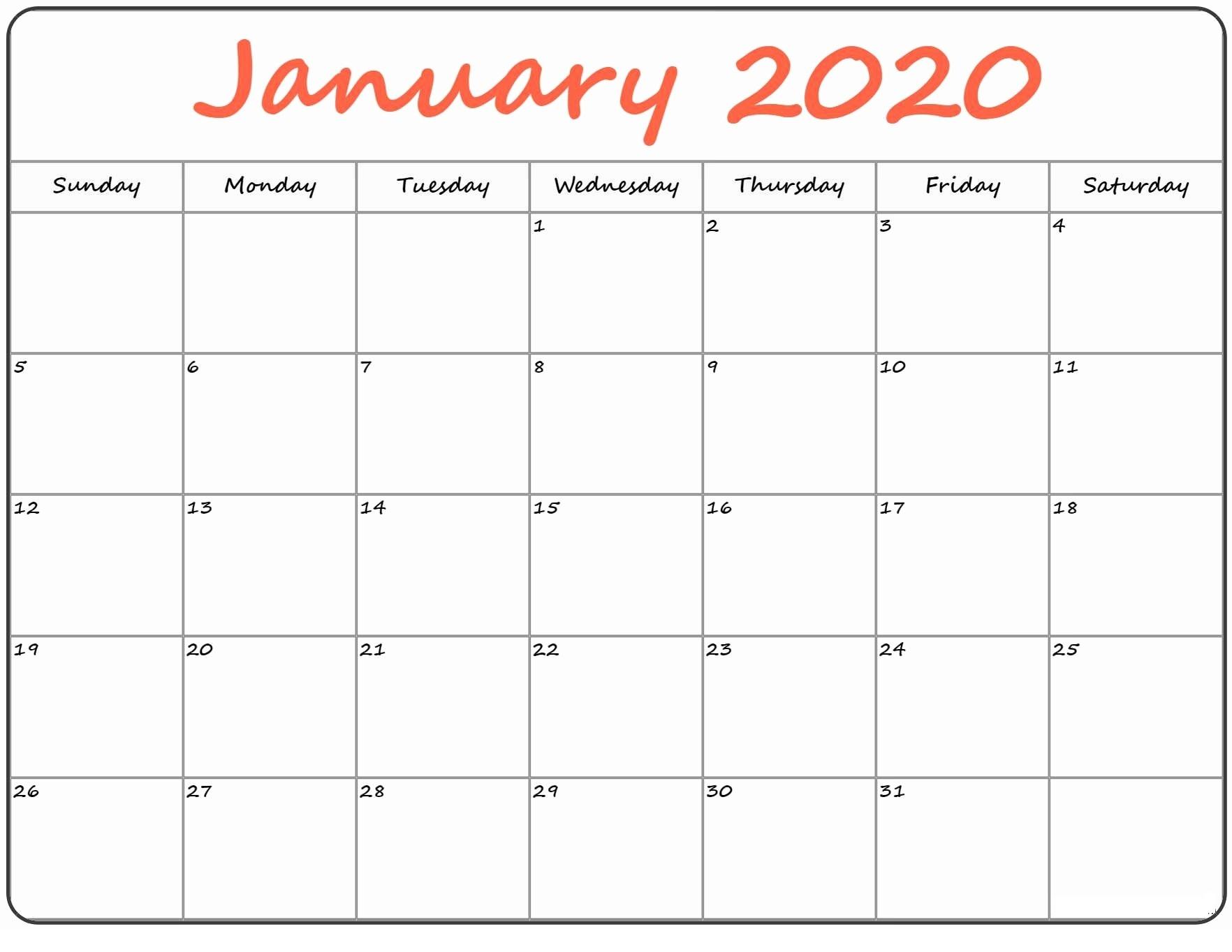 January Calendar 2020 Cute