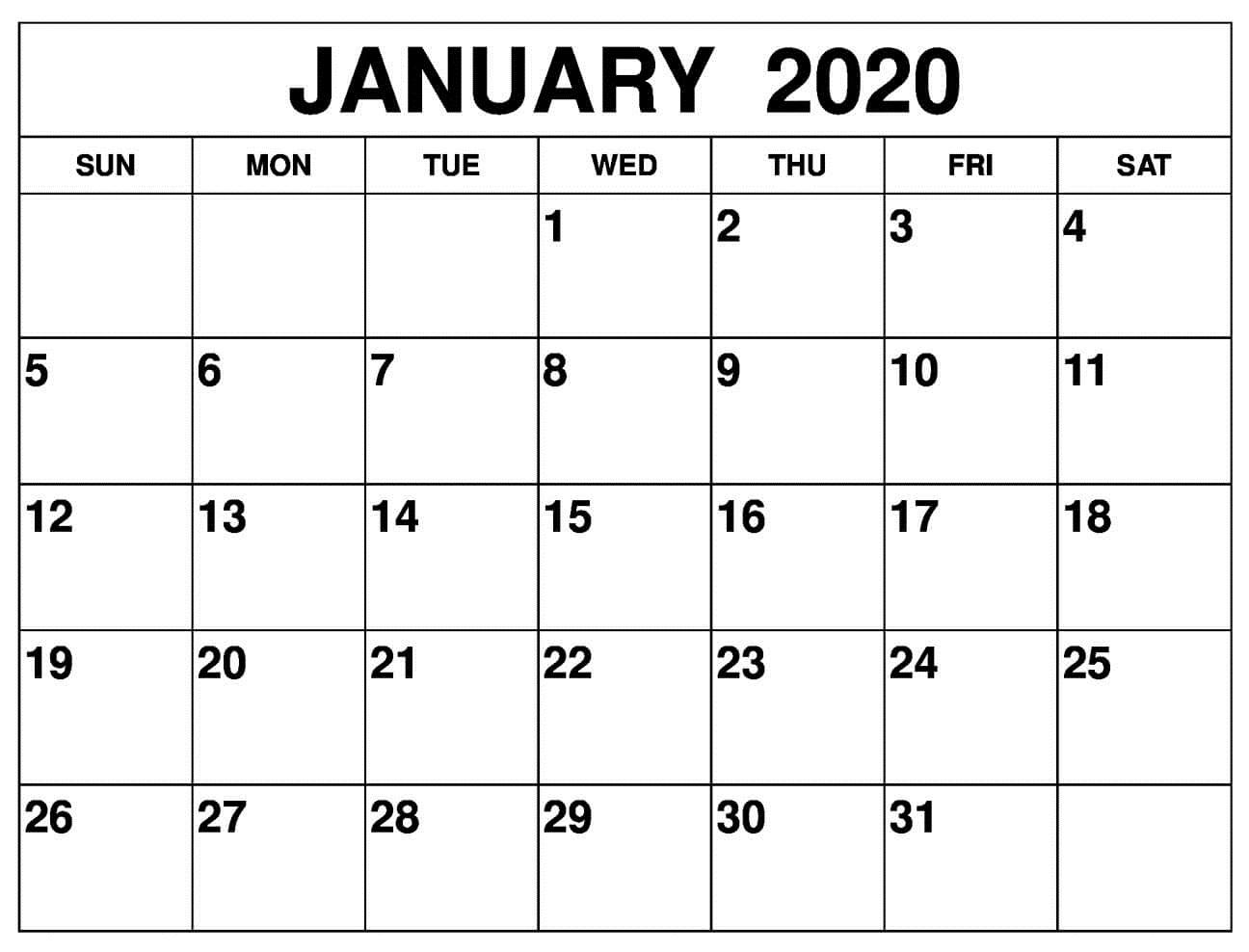 January Calendar 2020 Design