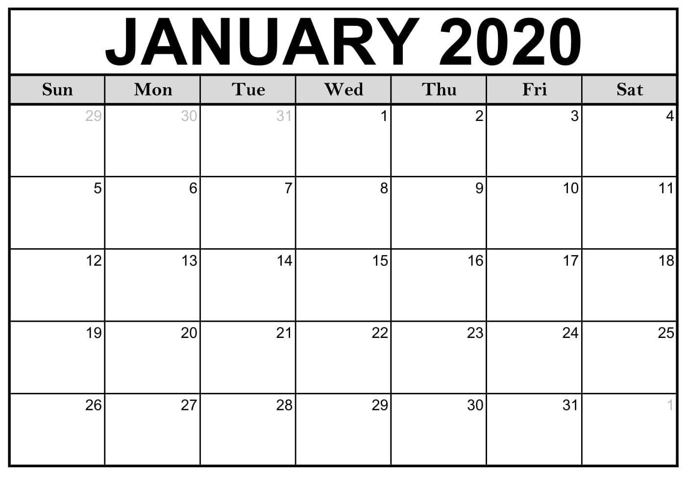 January Calendar 2020 Layout