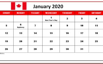 January Calendar 2020 Print