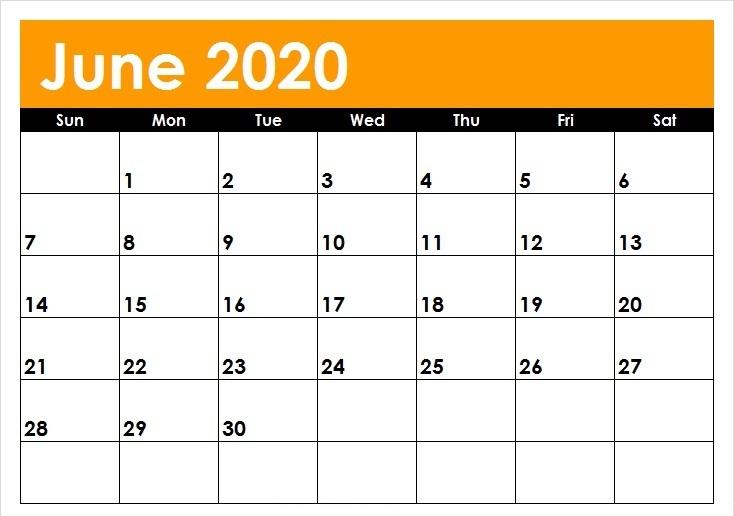 June 2020 Calendar Cute