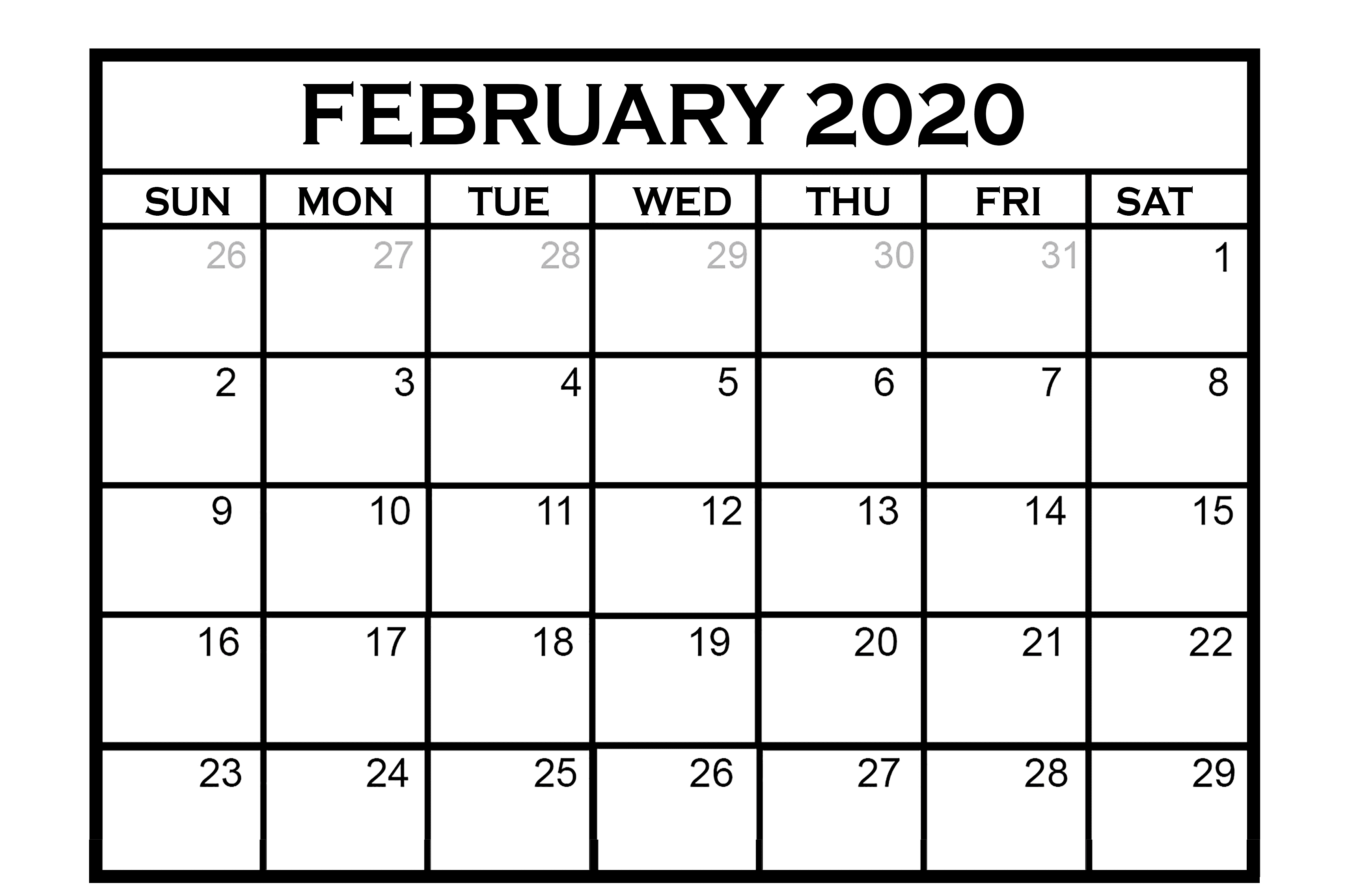 Layout February 2020 Calendar Excel