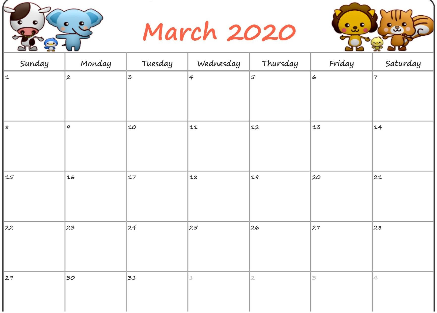 March 2020 Calendar Monthly