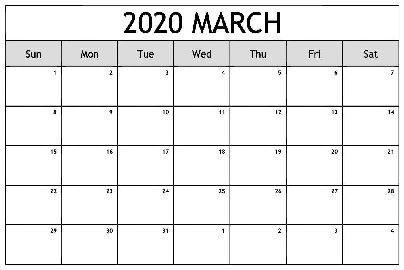 March 2020 Calendar Template Wallpaper