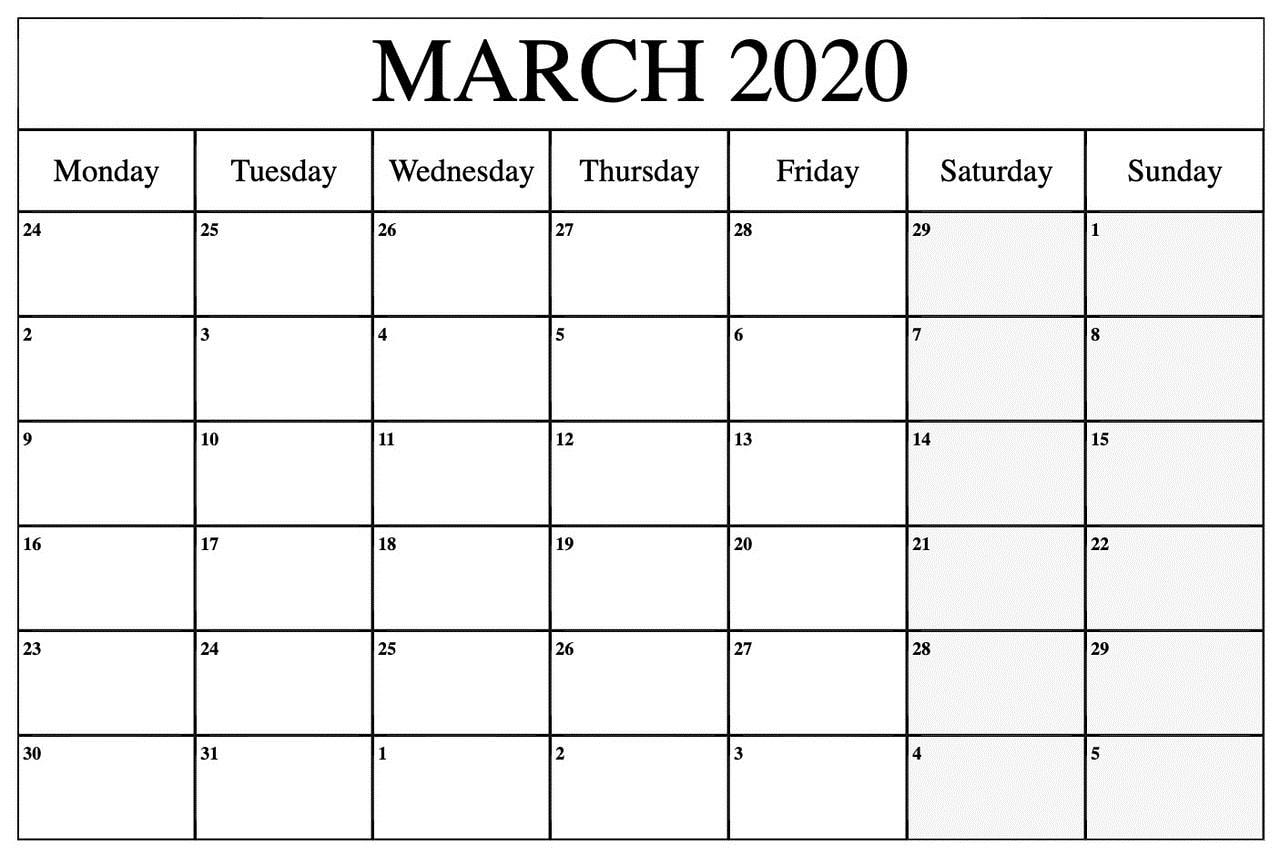 March 2020 Calendar Wallpaper