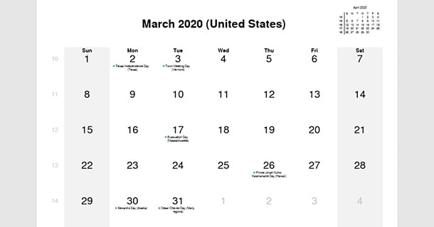 March 2020 Calendar With Holiday For Kids