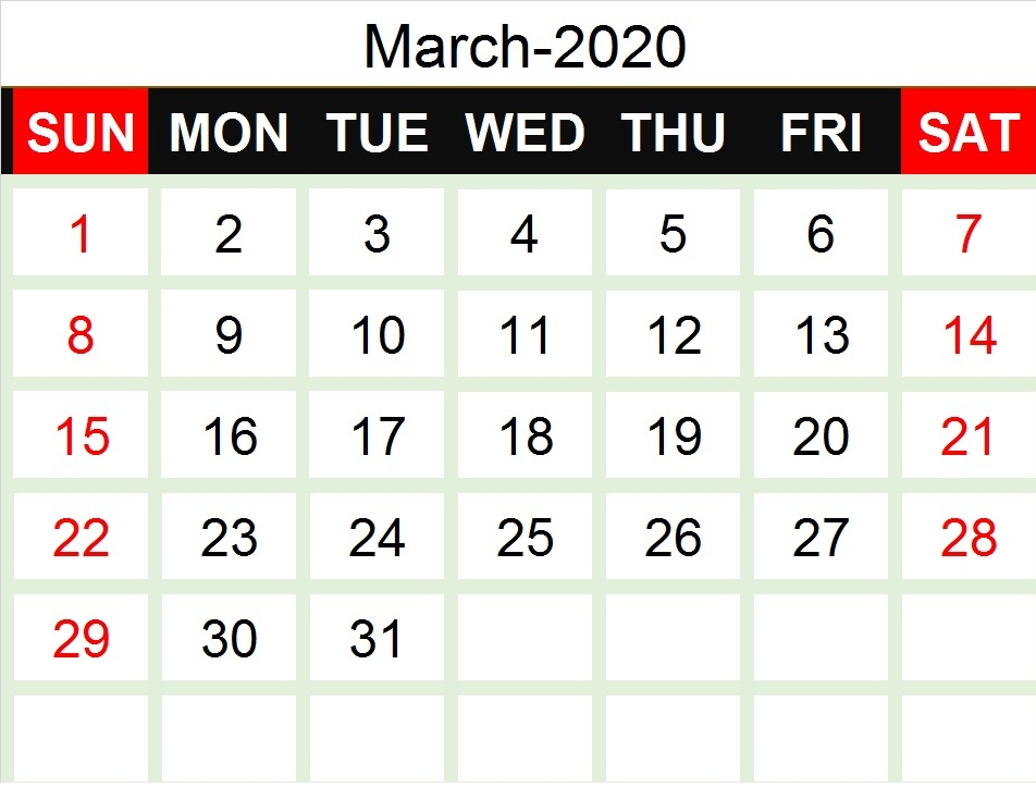March 2020 Calendar With Holiday For School