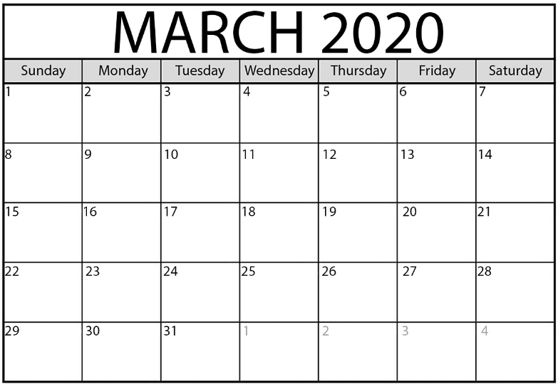 March 2020 Monthly Calendar Free
