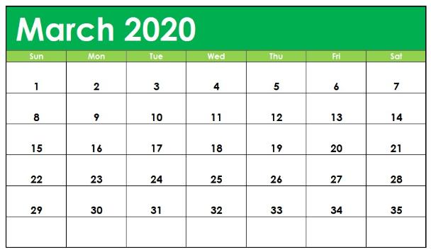March 2020 Monthly Calendar PDF