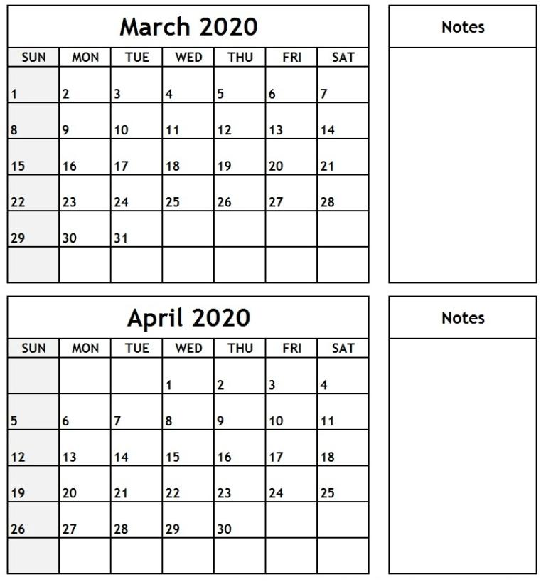March April 2020 Calendar Landscape