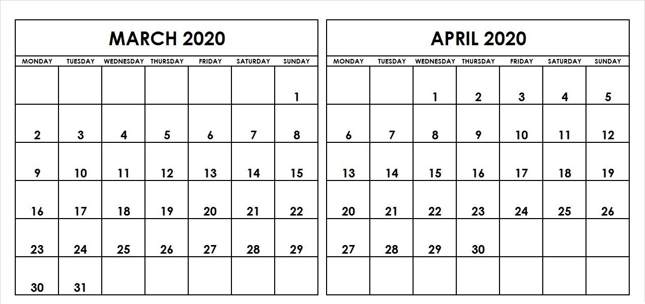 March April 2020 Calendar Page