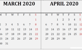 March April 2020 Calendar Reminder
