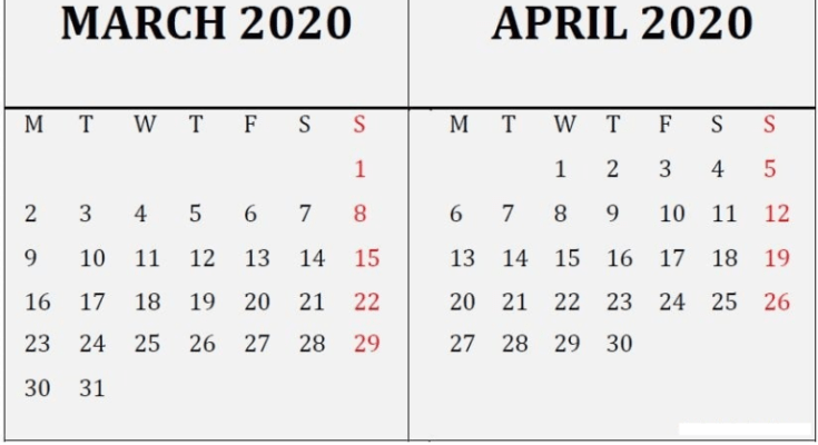 March April 2020 Calendar Reminder