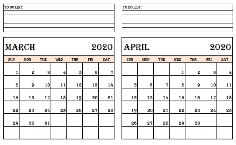 March April 2020 Calendar Template
