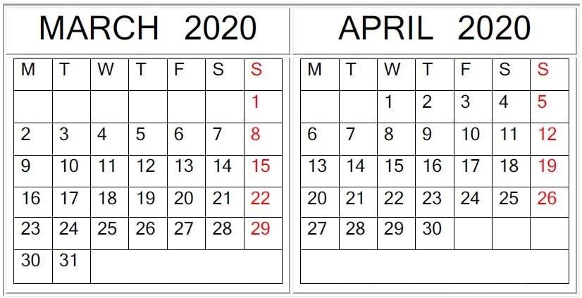 March April Calendar 2020
