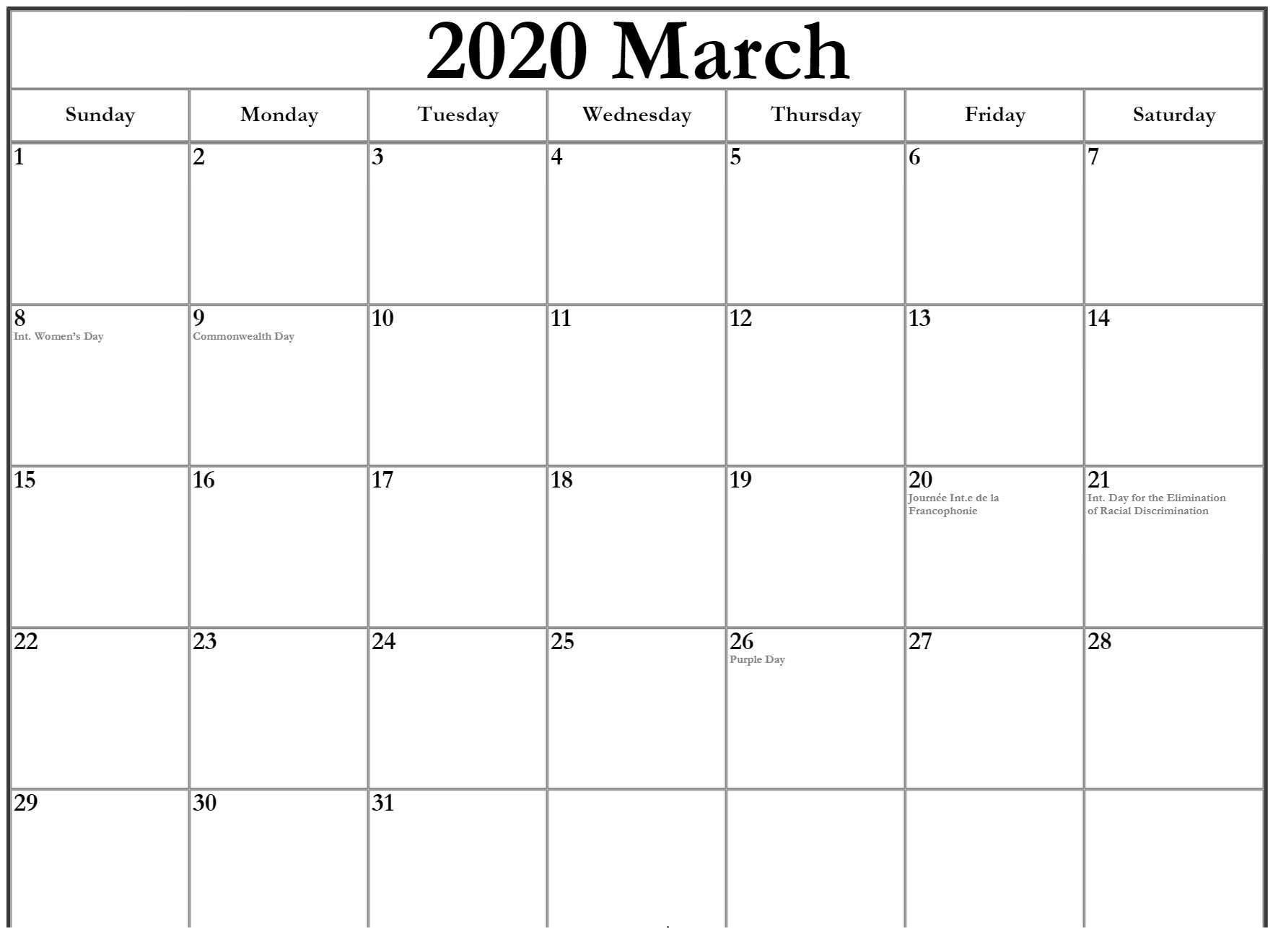 March Calendar 2020 With Holiday