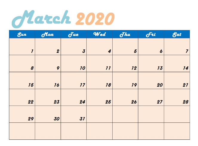 March Monthly 2020 Calendar