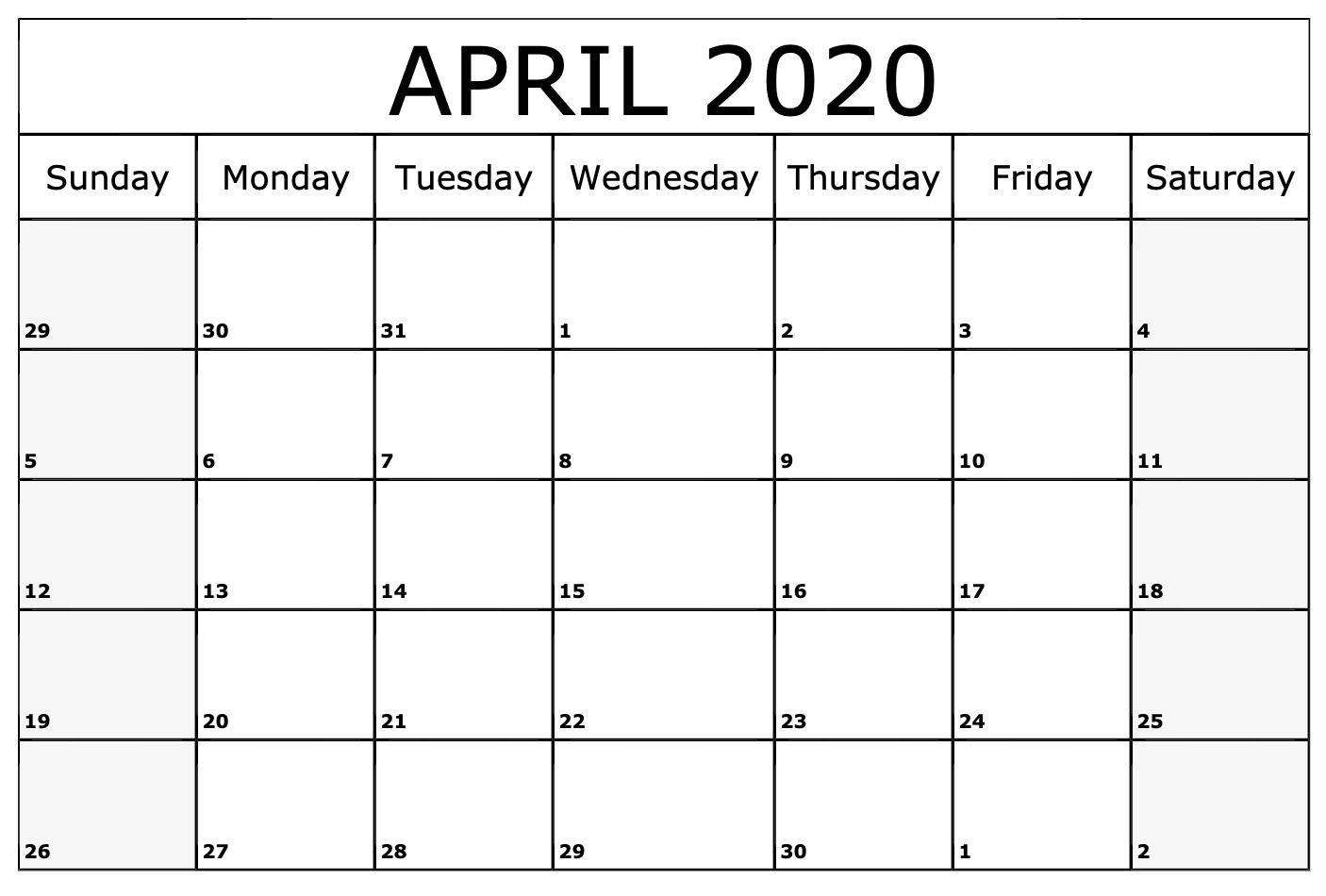 Monthly 2020 April Calendar