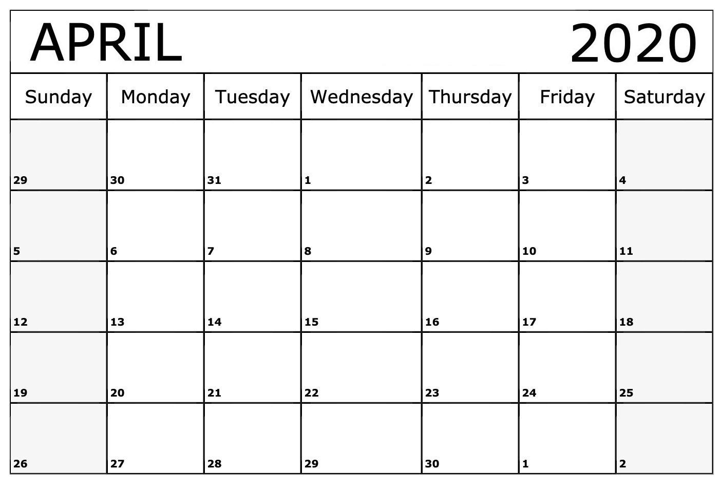 PDF 2020 April Calendar