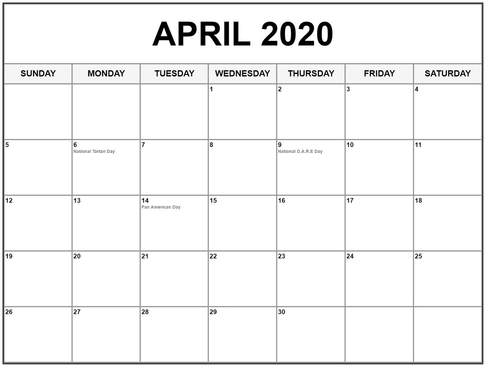 PDF April 2020 Calendar With Holidays