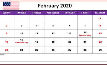 PDF February 2020 Calendar With Holidays