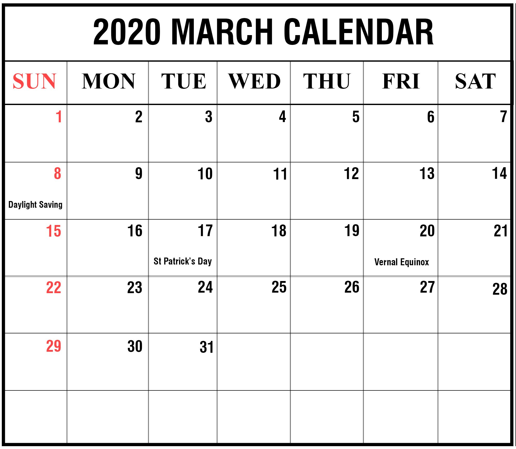 Print March 2020 Calendar With Holiday