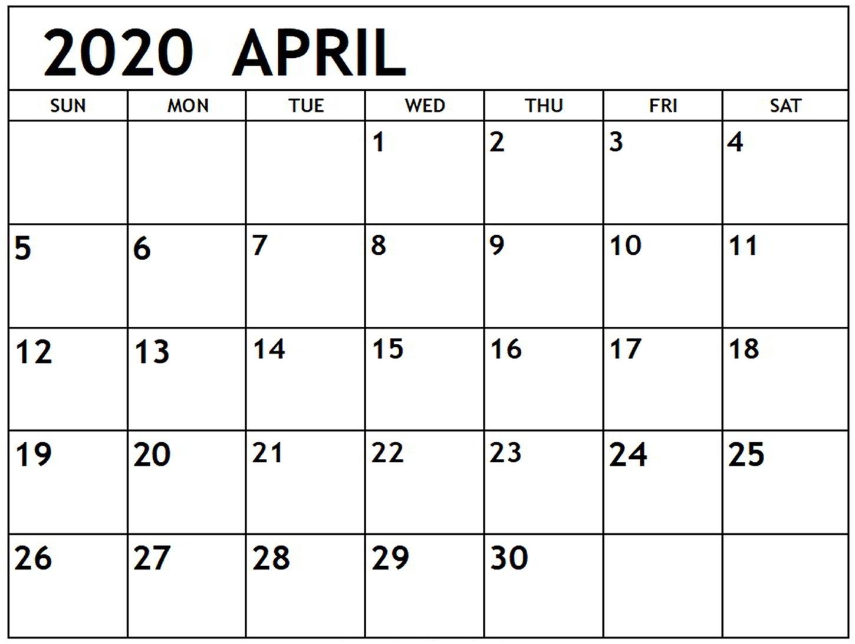 Printable April 2020 Calendar PDF