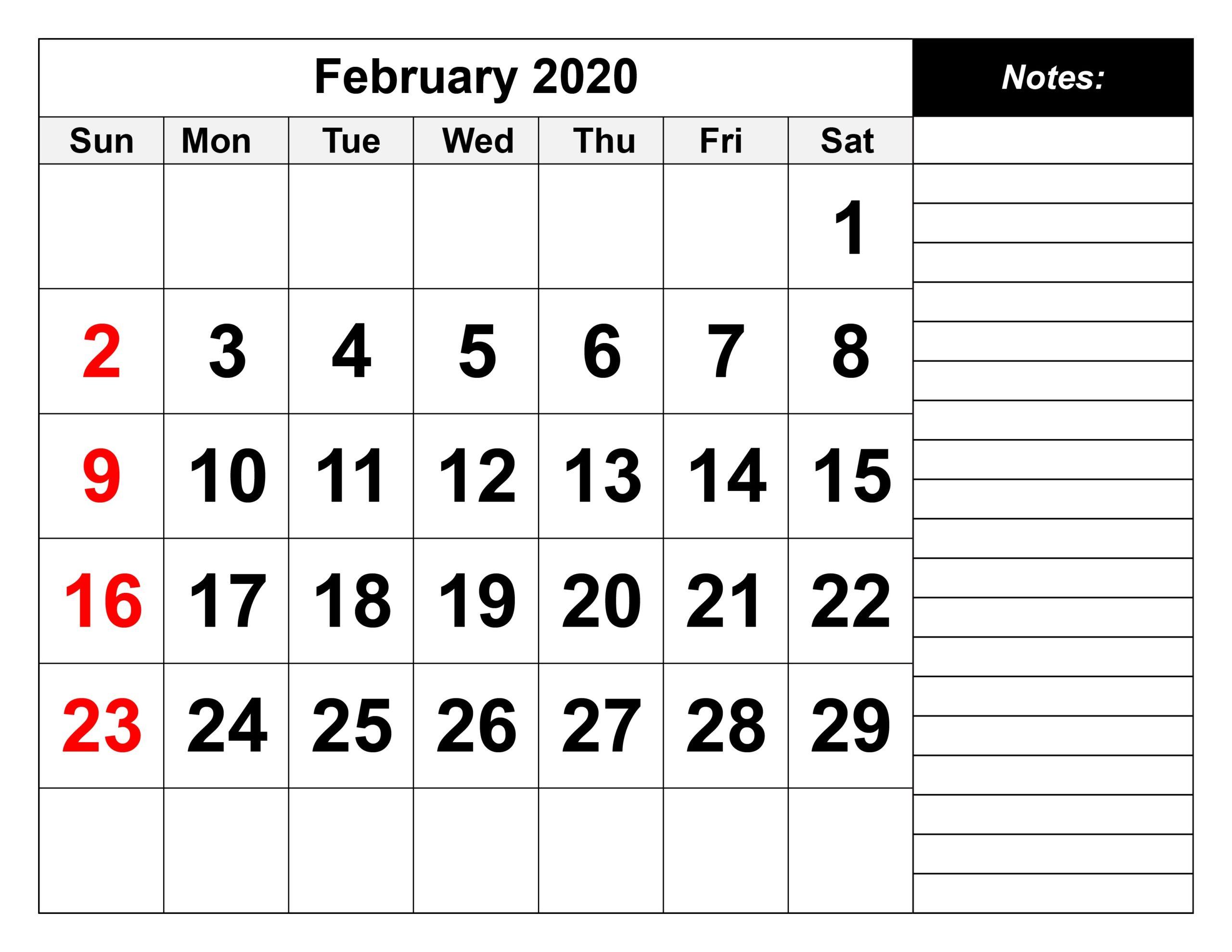 Printable February 2020 Calendar PDF