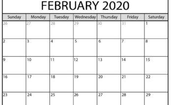 Printable February 2020 Calendar Wallpaper