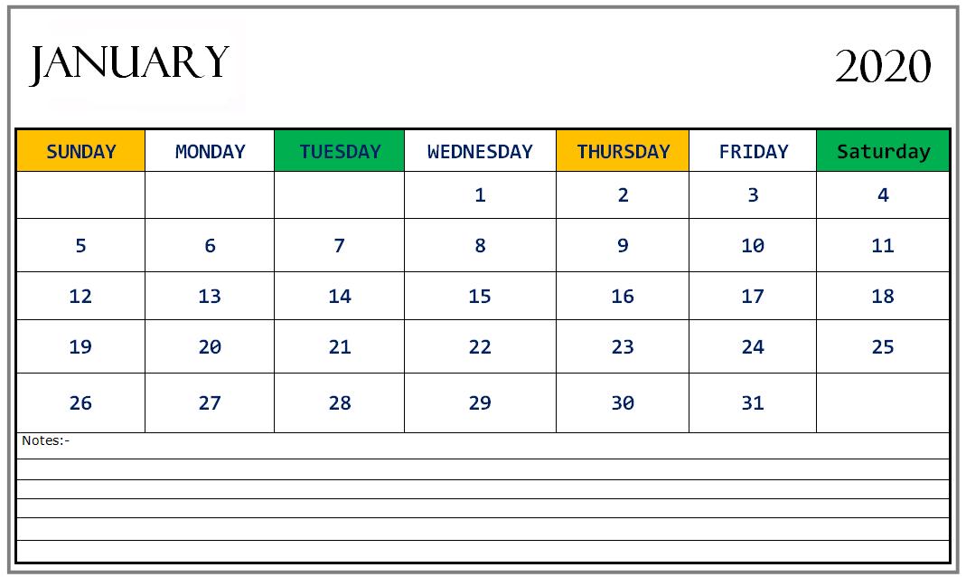 Printable January 2020 Calendar Excel