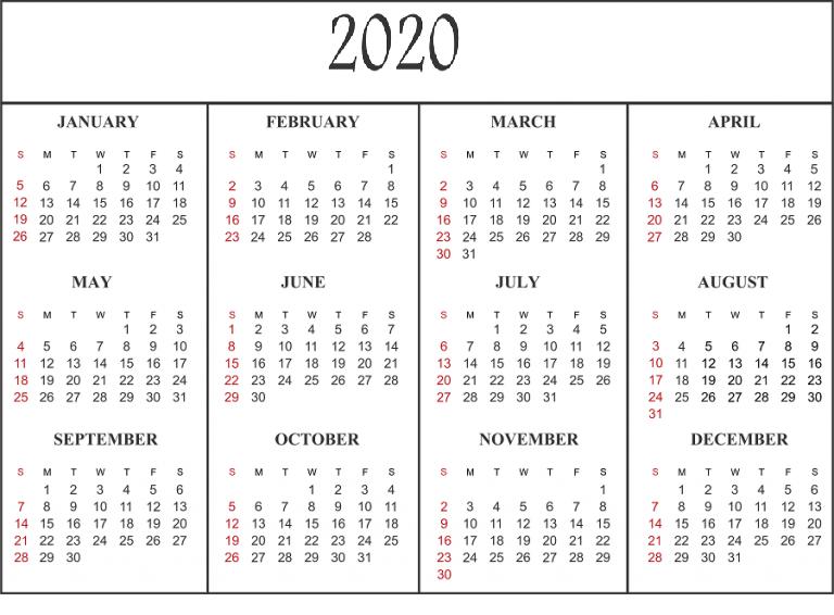 Template 2020 Calendar With Holidays