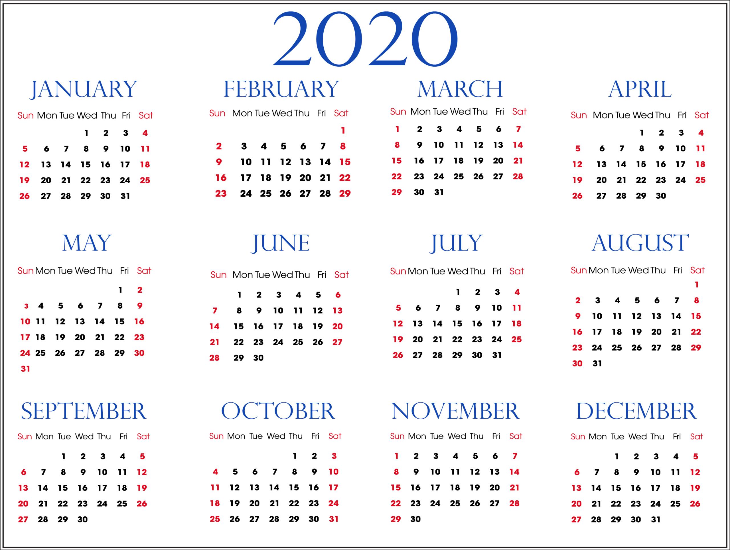 Template 2020 Calendar