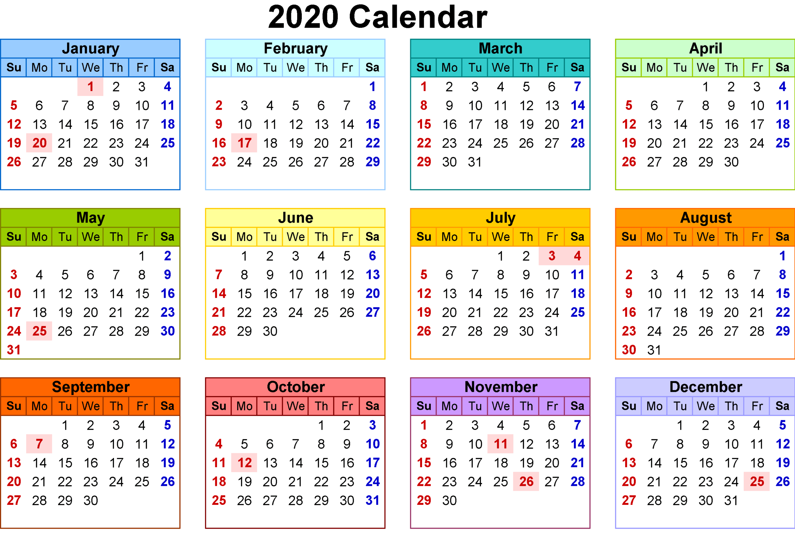 Template Calendar 2020 Download