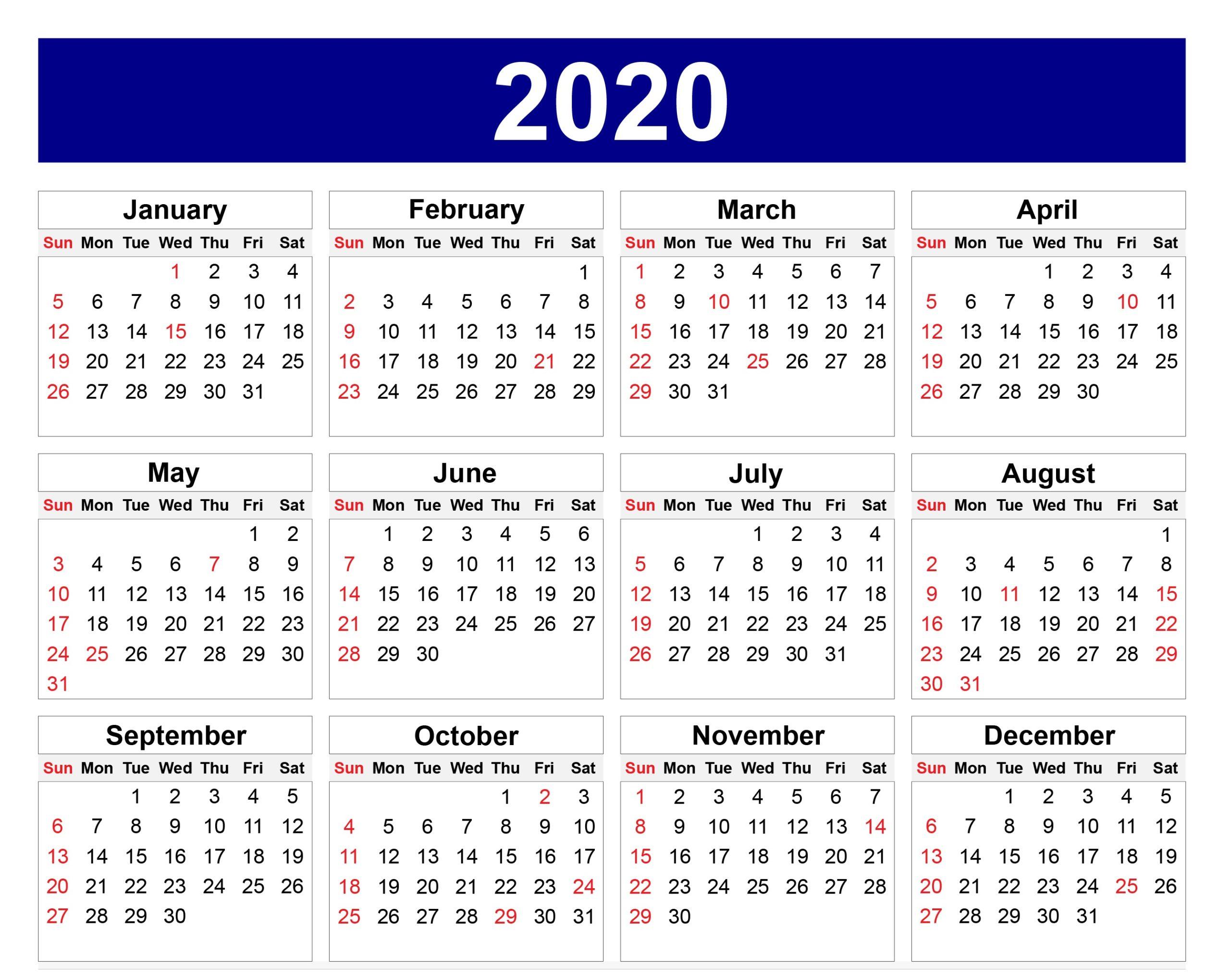 Template Calendar 2020 For School