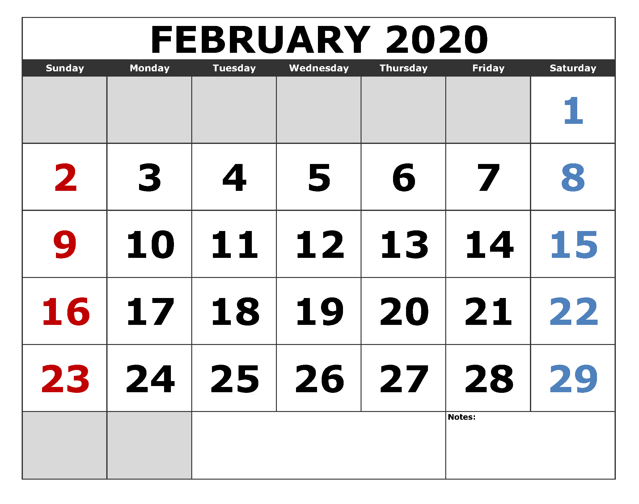 Vertical February 2020 Calendar With Holidays