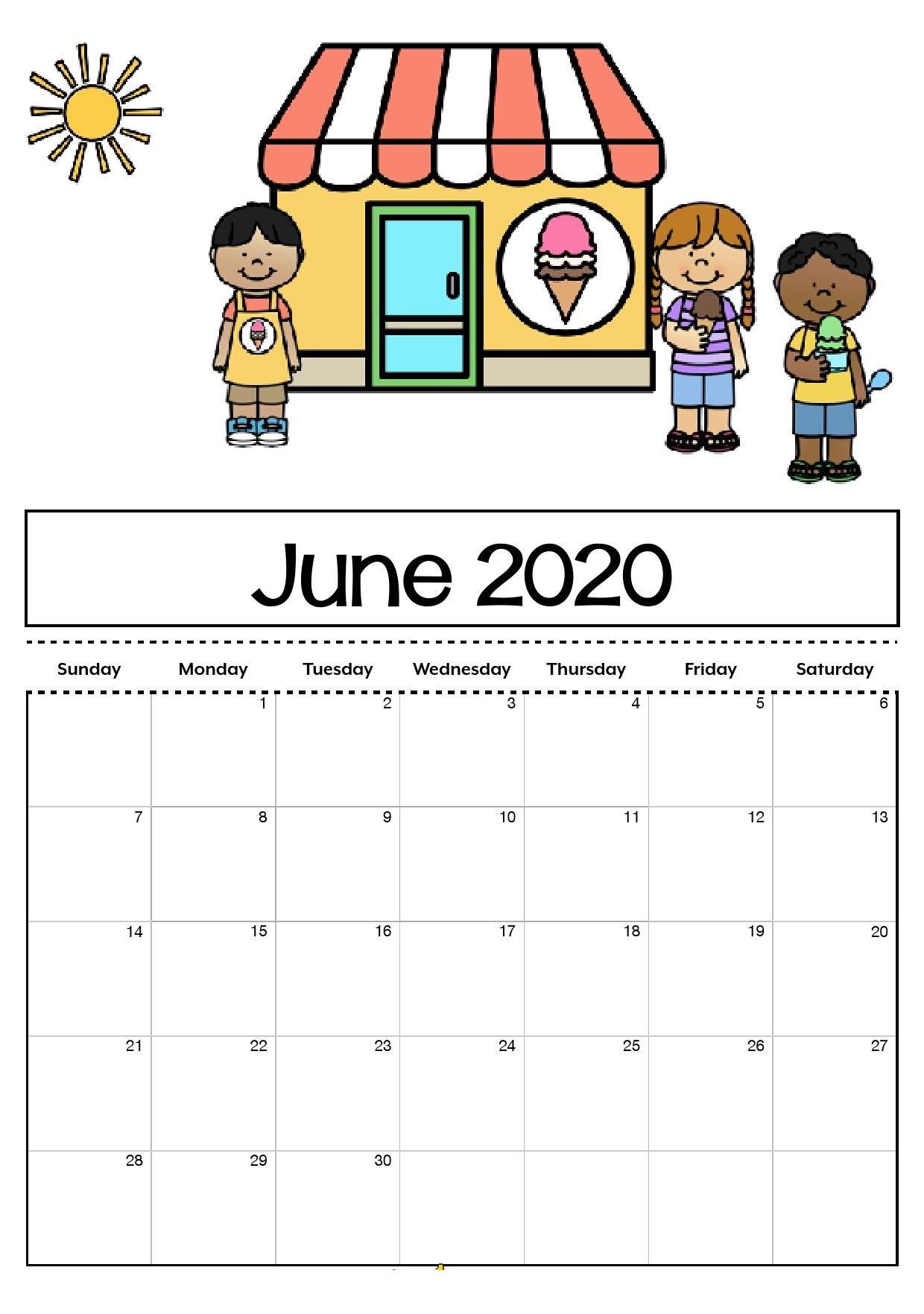 2020 Calendar June Printable