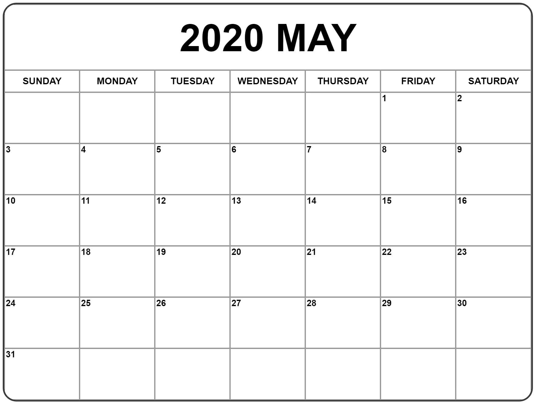 2020 Calendar May PDF