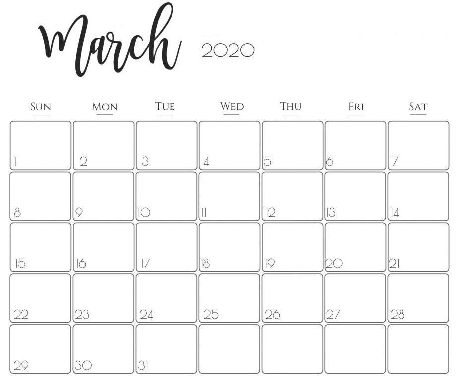 2020 March Calendar US