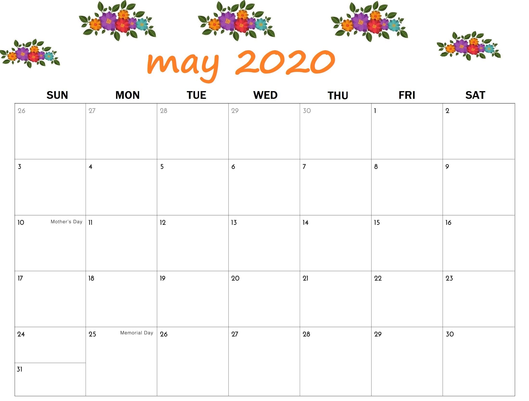 2020 May Calendar PDF