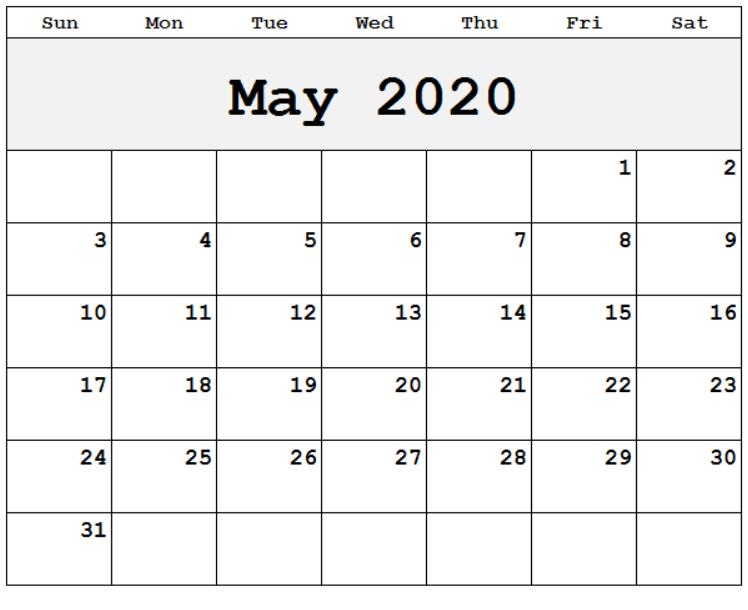 2020 May Calendar Template
